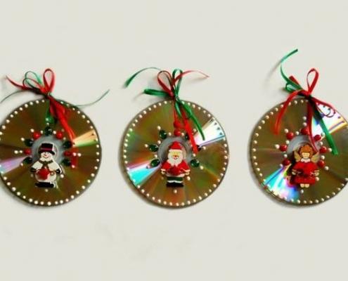 adornos navideños reciclados con discos
